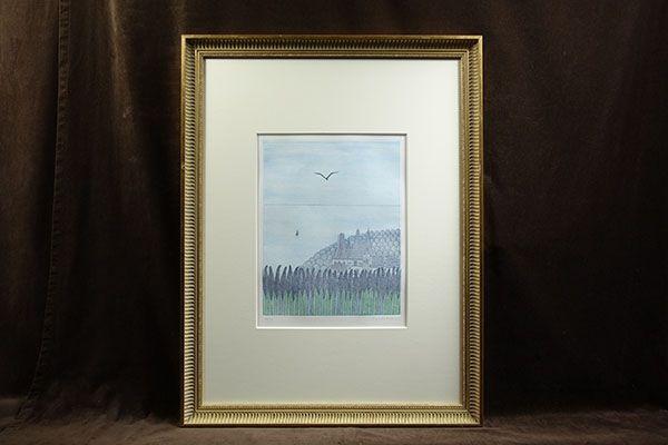南桂子「紫色のシャトー」直筆サイン・8号相当額装・レゾネNo 229・1977年・ベルグラン画廊・真作保証・銅版画