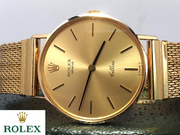 ロレックス■チェリーニ K18YG 金無垢 ■薄型 メンズ腕時計 オーバーホール済