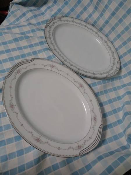 ノリタケ 柄違い楕円大皿2枚セット FAIRMONT6102 NORWOOD6011 難あり_画像1