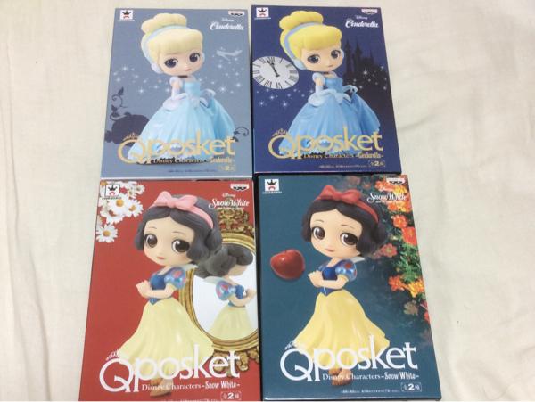 即決 シンデレラ 白雪姫 Qposket フィギュア 4種セット ディズニーグッズの画像