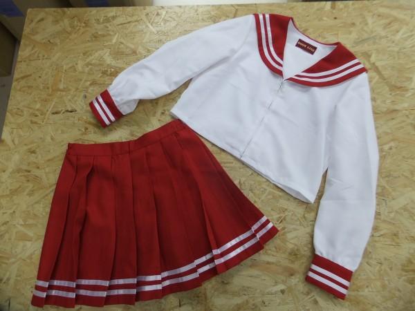 BODY LINE レディース 衣装 コスプレ ミニスカ 可愛いセーラー服上下セット 制服 女子高校生 赤 F