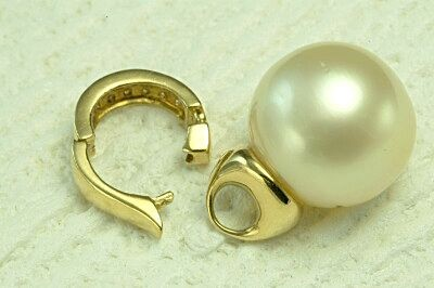 K18 白蝶真珠 15.5mm ダイヤ トップ クリッカー【n55】 南洋真珠 ペンダントトップ_画像2