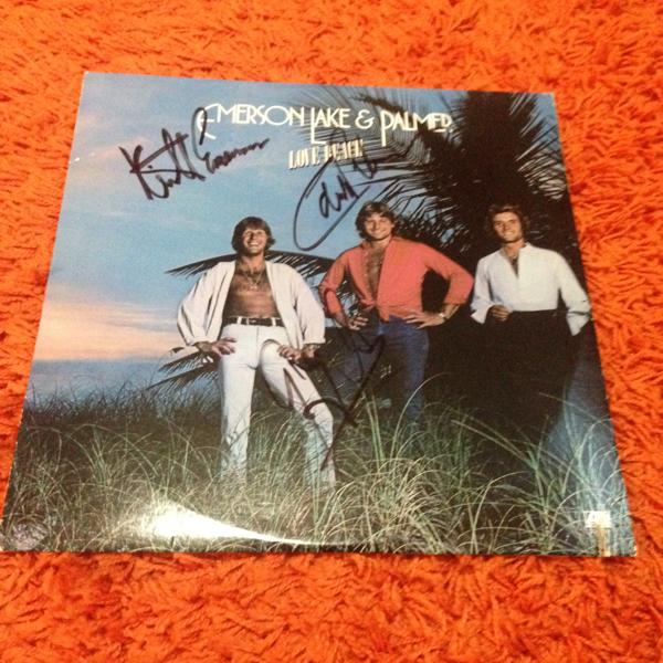 Emerson Lake & Palmer エマーソン・レイク・アンド・パーマー直筆サイン入レコード「Love Beach」Keith Emerson, Greg Lake, Carl Palmer