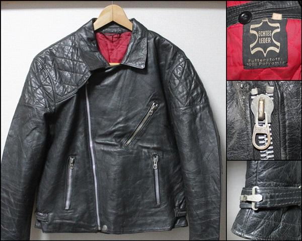 希少!!ビンテージヨーロッパ変形レザーライダースジャケット48サイズ黒UKロンジャン/ハイウェイマン666_画像1