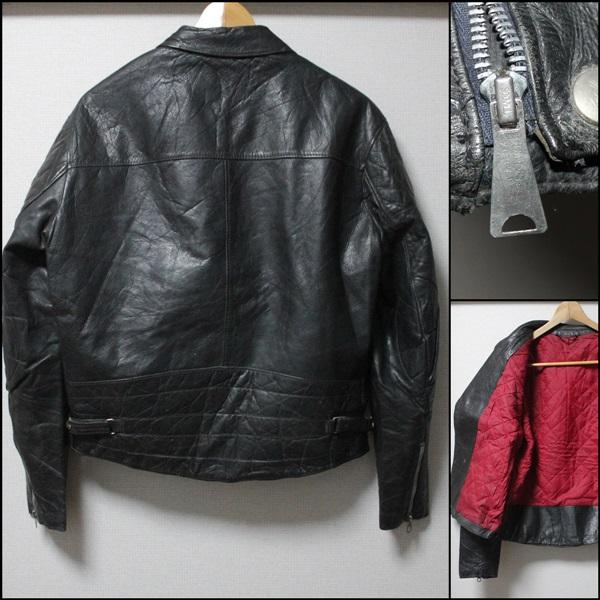 希少!!ビンテージヨーロッパ変形レザーライダースジャケット48サイズ黒UKロンジャン/ハイウェイマン666_画像3