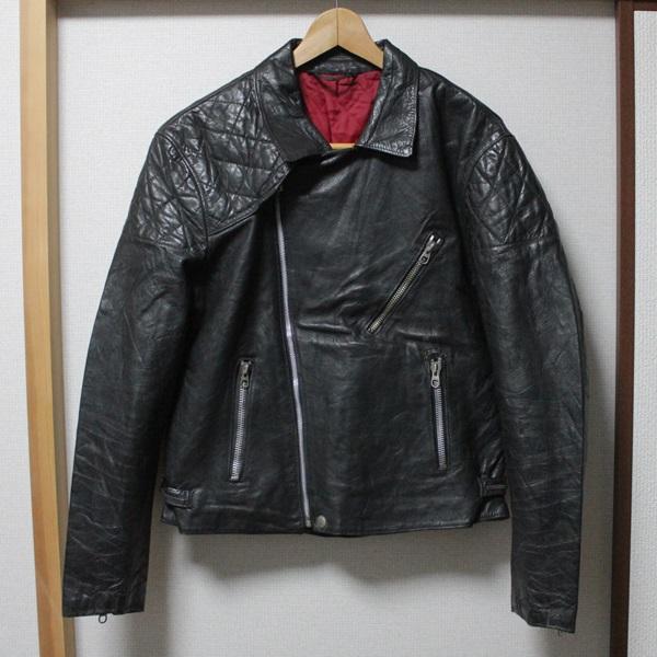 希少!!ビンテージヨーロッパ変形レザーライダースジャケット48サイズ黒UKロンジャン/ハイウェイマン666_画像2