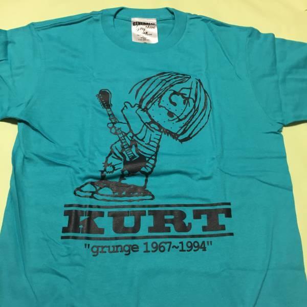 スヌーピー パロディ Tシャツ S青◆カートコバーン/ニルヴァーナ