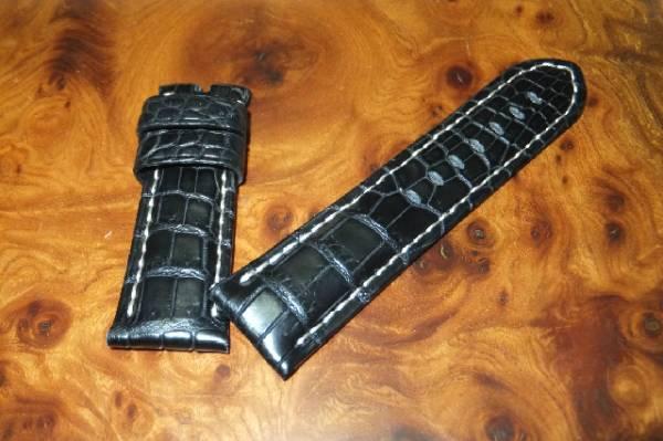 24mm-22mm 手縫い アリゲーター×防水レザー パネライ向G044