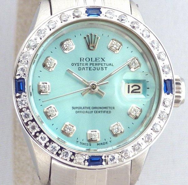 極美品 ロレックス デイトジャスト 10Pダイヤ 水色 ティファニーブルー サファイア ダイヤベゼル Ref.6517 純正巻ブレス レディース ROLEX