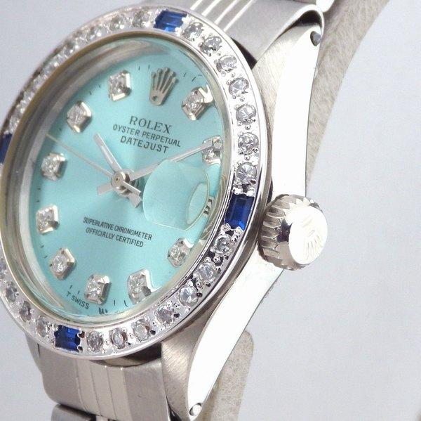 極美品 ロレックス デイトジャスト 10Pダイヤ 水色 ティファニーブルー サファイア ダイヤベゼル Ref.6517 純正巻ブレス レディース ROLEX_画像2