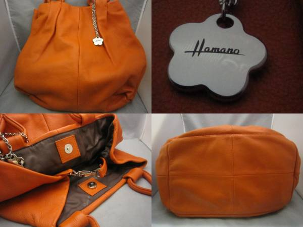 美品【HAMANO ハマノ】牛革ハンドバッグ オレンジ US1597S_画像2