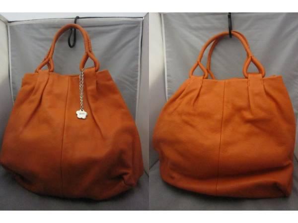 美品【HAMANO ハマノ】牛革ハンドバッグ オレンジ US1597S_画像1