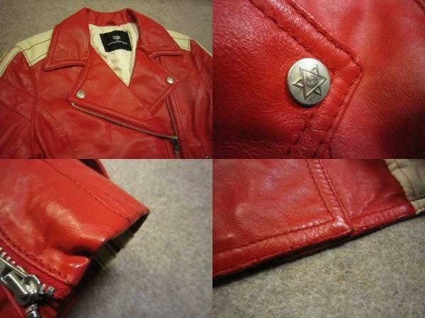 【VIVA YOU ビバユー】牛革レザーダブルライダースジャケット 赤 2 KS1085F_画像3