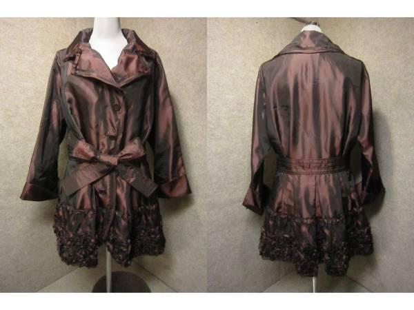 美品【YUKIKO HANAI ユキコハナイ】デザインジャケット 10 ワインレッド KS1082F