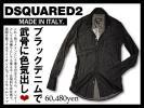 6.1万DSQUARED2 ディースクエアード 絶妙なウォッシュと計算尽くされたシルエットが生んだ秀逸な一枚!ブラックデニムシャツ イタリア製