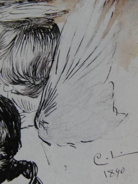 カール・ラーション、画家の妻と子ども、鳥の翼の習作、希少画集画、新品額装付、状態良好_画像2