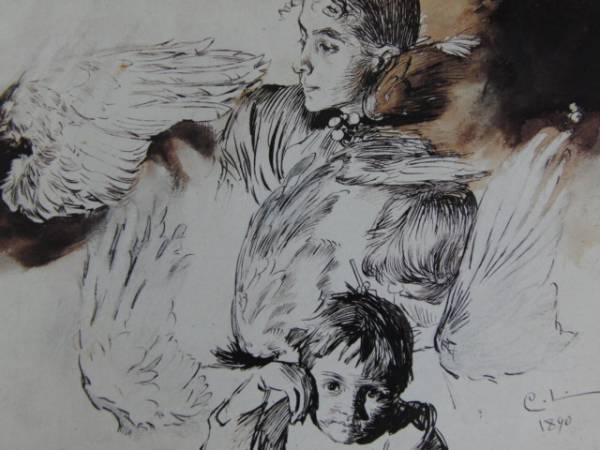 カール・ラーション、画家の妻と子ども、鳥の翼の習作、希少画集画、新品額装付、状態良好_画像1