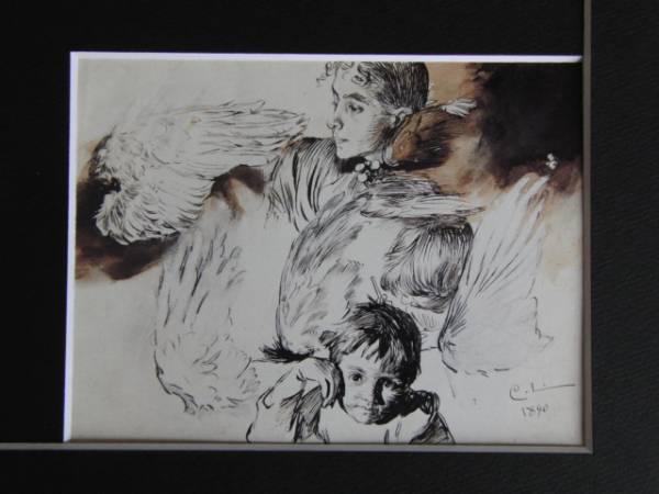カール・ラーション、画家の妻と子ども、鳥の翼の習作、希少画集画、新品額装付、状態良好_画像3