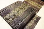 きものふじかわ★極上 シルクモール織 黒・紫色地 渦巻き文様 美品