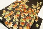きものふじかわ★極上 作家物 雰囲気の良い染帯 縮緬地 紅葉もみじ文様 黒橡色地 開き九寸名古屋帯 美品
