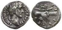 古代ローマ帝国 皇帝アントニヌス ピウス 銀貨 握手 3,17 g / 18 mm
