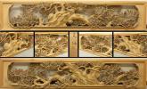 □古城□井波彫刻 在銘 細密木彫り 老松紋 欄間一対