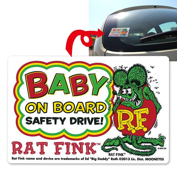 Rat Fink ラットフィンク 赤ちゃんが乗っています シール ステッカー デカール Baby on Bord ドライブサイン mooneyes ムーンアイズ_画像2