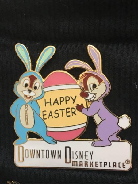海外ディズニーランド限定 DOWNTOWN DISNEY イースター チップ&デール ピンバッジ ディズニーグッズの画像
