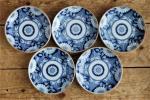 ■織■藍印判 トンボ図 染付取り皿(小皿)5枚