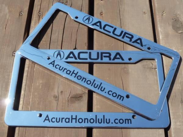 ハワイ ACURA アキュラ ディーラー ナンバーフレーム ライセンスフレーム 現地入手 北米 US USDM HDM NSX MDX RDX TL CL RL RSX TSX 1_ホノルル近郊大型ACURAディーラー2枚SET!