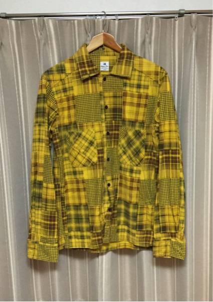 美品 サスクワッチファブリックス パッチワーク風 チェック柄 ネルシャツ 背面刺繍 L