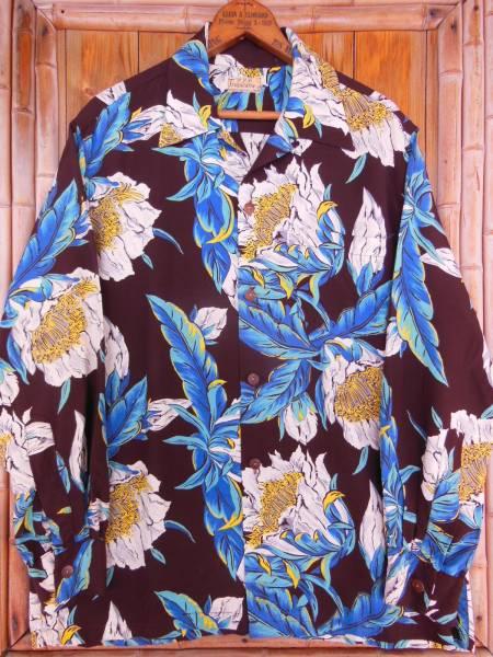 極上50S ビンテージ TROPICANA ダークブラウン花柄長袖レーヨンハワイアンシャツ/M_画像2