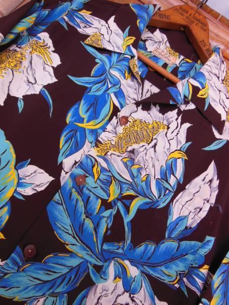 極上50S ビンテージ TROPICANA ダークブラウン花柄長袖レーヨンハワイアンシャツ/M_画像1