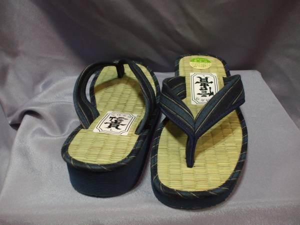 日本製 い草 草履 サンダル 藍入り縞柄鼻緒  新品未使用 箱無し Lサイズ_画像3