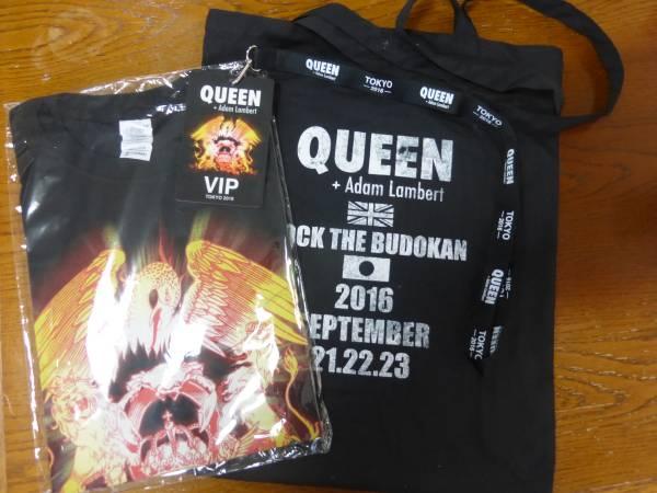 クィーン QUEEN + Adam Lambert 2016 日本武道館公演 SS席特典Tシャツ Mサイズ未開封 + トートバッグ プラスVIPパス