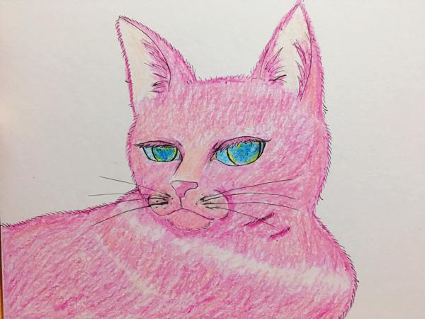 オリジナル☆手描きイラスト☆pinkcat☆猫☆色紙 ライブグッズの画像
