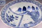 (航)初代 時代 古伊万里 染付 風景図 菓子鉢 菓子器 在印 初荷 骨董 古玩 古美術品 古道具