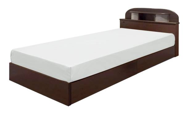 送料無料 小物置き+引出し+ダブルコンセント+ 床下収納付の機能満載 マットレス付きのシングルベット 数量限定!