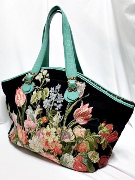 ■Think Bee! 【シンクビー】 BIG トートバッグ ゴブラン織 美品 ★春の花が満載のこの季節に持ちたいバッグです。