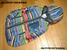 go slow caravanネイティブ柄ボーダーリネンMIXフルジップパーカー美品3(L)ゴースローキャラバンNATIVEフーデッドジャケット