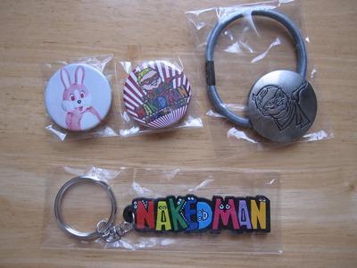 【鈴村健一】NAKED MAN ライブグッズ☆ラバーキーホルダー&ヘアゴム&缶バッジ2個セット