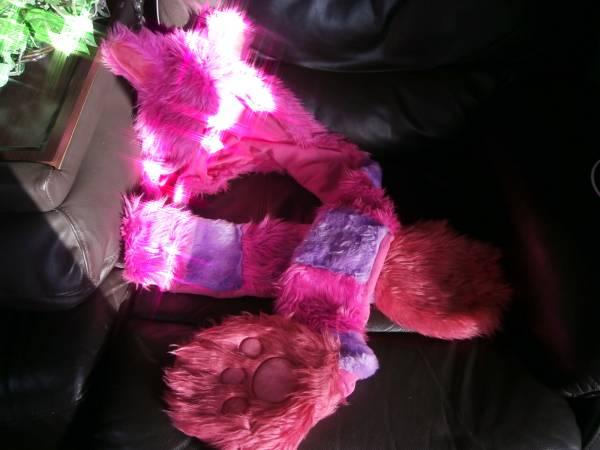絶版*スペシャル会員TDRチシャ猫のフードマフラー*ピンク紫ネ ディズニーグッズの画像