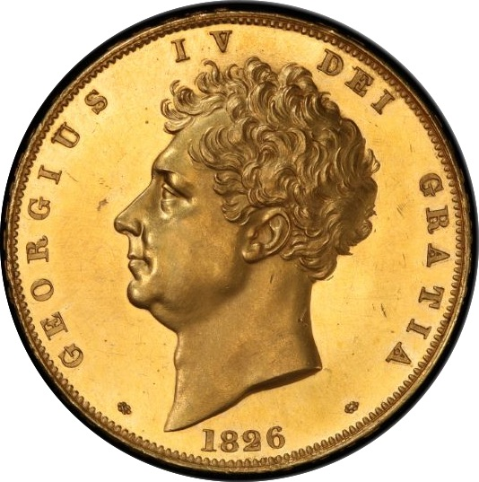 発行枚数150枚のみ 激レア 1826年 イギリス・ジョージ4世 5ポンドプルーフ金貨 PCGS PR62 CAMEO