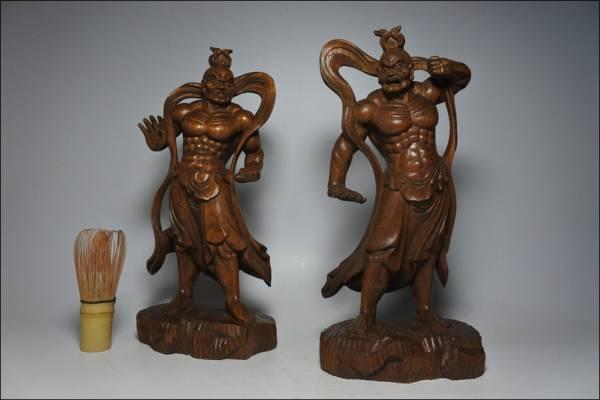 木造彫刻 仁王像/金剛力士像 欅 仏教美術 仏像 木彫 30cm