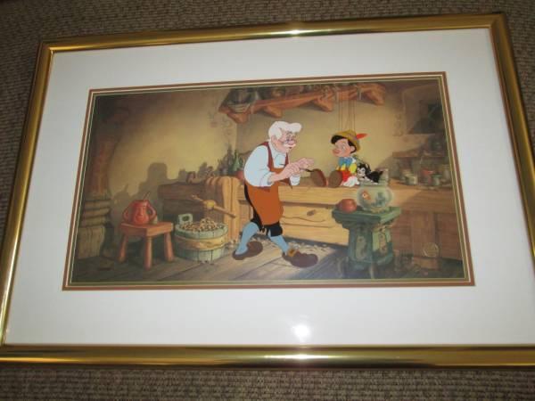 ディズニー ピノキオ 原画 セル画 限定 レア Disney 入手困難 ゼペット フィガロ ディズニーグッズの画像