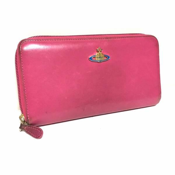 正規 Vivienne Westwood ラウンドファスナー ヴィヴィアン ウエストウッド レザー 長財布 ピンク オーブ 送料無料