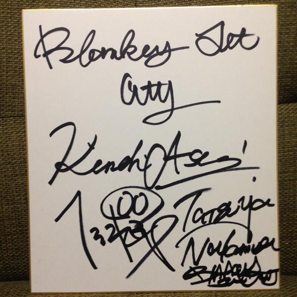 Blankey Jet City ブランキー・ジェット・シティ 浅井健一 照井利幸 中村達也 直筆サイン入り色紙 若干黄ばみあり。 ライブグッズの画像