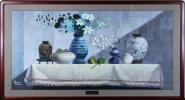 ◆人見友紀◆卓上の安らぎ◆油彩◆伝説の逃亡画家◆大きい作品です◆