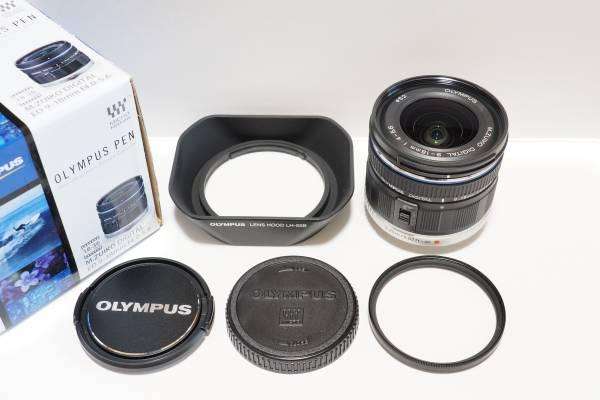 ★中古美品★OLYMPUS M.ZUIKO DIGITAL ED 9-18mm F4.0-5.6 超広角ズームレンズ(純正フード&デジタルキング製レンズプロテクター付)