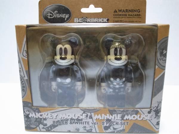 未開封 BE@RBRICK ベアブリック ミッキーマウス&ミニーマウス ブラック&ホワイトver 2体セット 100%_画像1